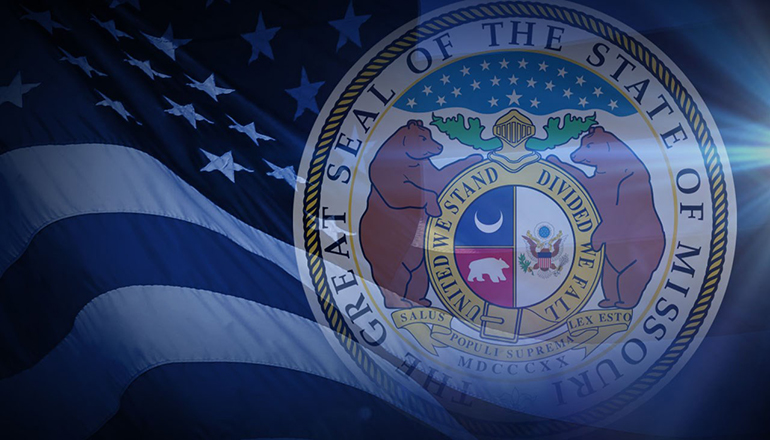Great seal of Missouri and US Flag